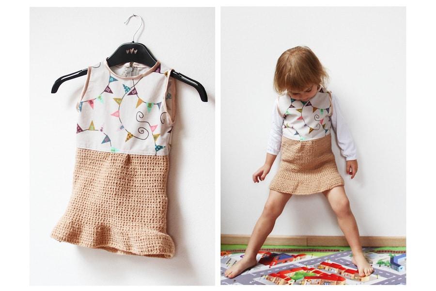 Malá pařížanka: Šaty s háčkovanou sukní pro Terulku