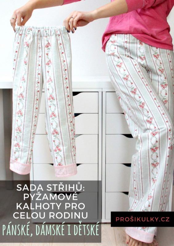 Střih na pyžamové kalhoty pro celou rodinu - pánské, dámské i dětské