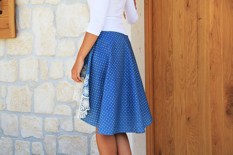 Střih na dámskou sukni - asymetrickou