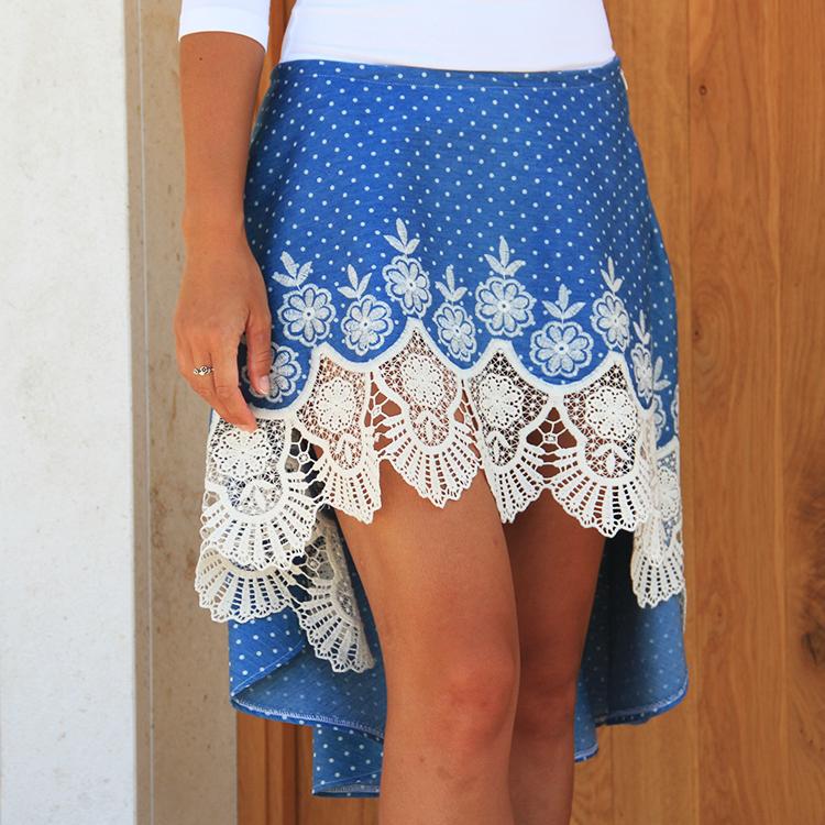 Střih na dámskou sukni LACE s prodlouženým zadním dílem + návod ... 15614cad790