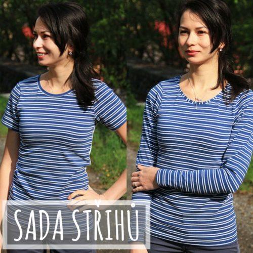 Střih na dámské tričko s krátkým i dlouhým rukávem + návod jak ušít tričko krok za krokem