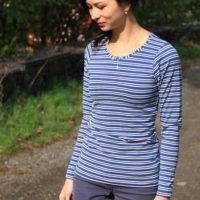 Střih na dámské tričko s dlouhým rukávem + návod jak ušít tričko krok za krokem