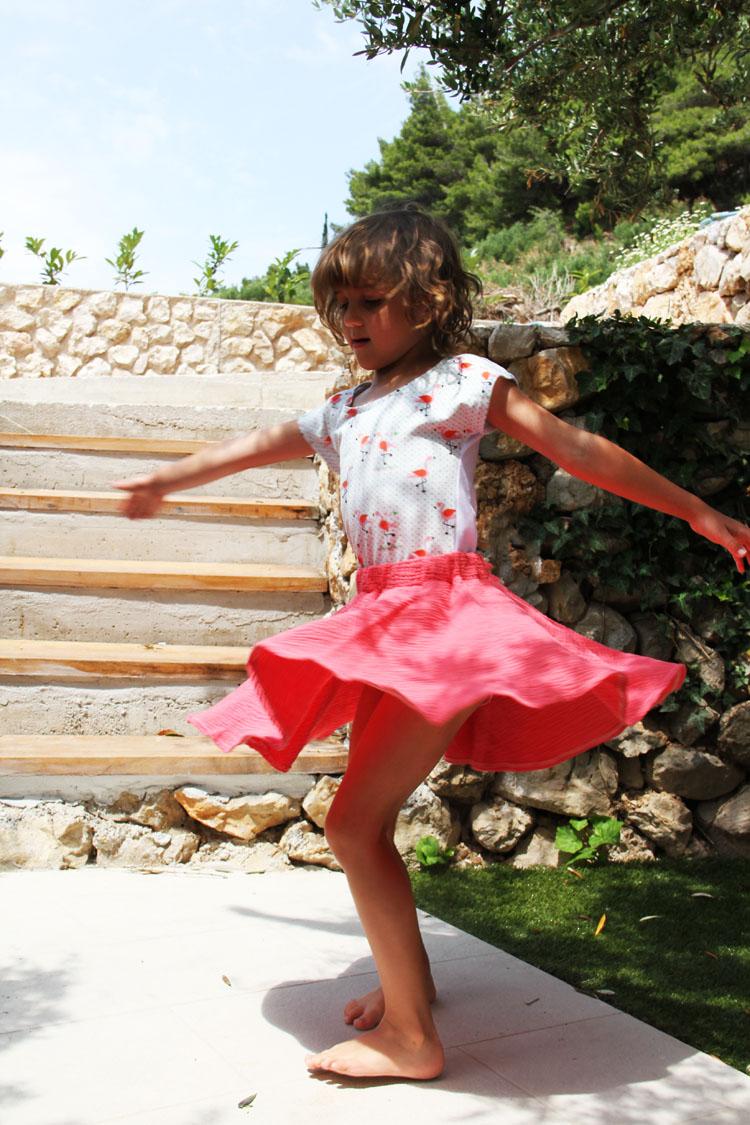 Střih na dětskou točivou sukni