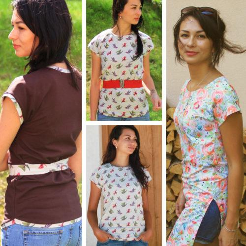 Střih a návod jak ušít dámské tričko nebo tuniku s přinechanými rukávy