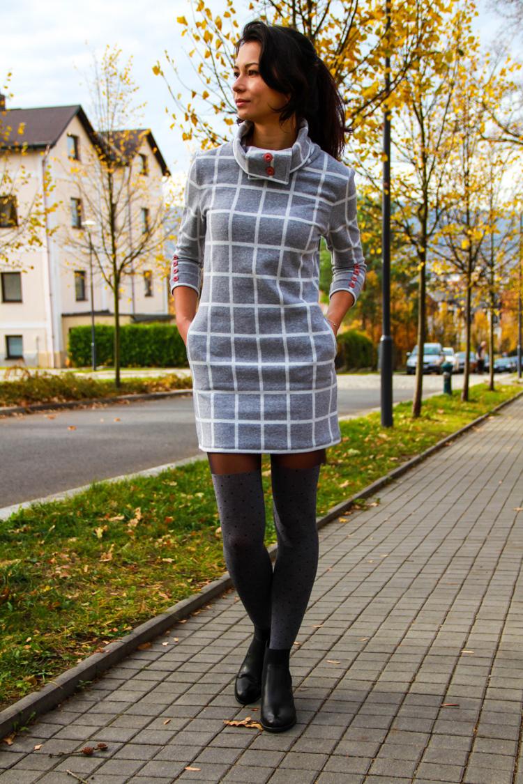 Střih na dámské podzimní šaty
