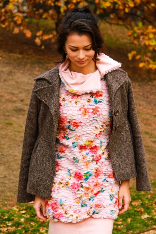 Střih na dámské zimní mikinošaty / šaty