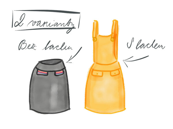 Střih na dámskou sukni (s laclem nebo bez)