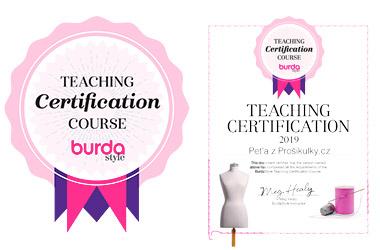 Od r. 2019 jsem certifikovaná lektorka šití