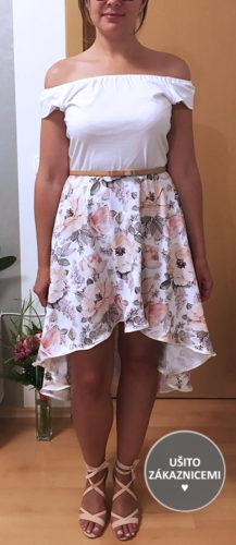 Střih na dámskou sukni s prodlouženým zadním dílem - ušila Simona Š.
