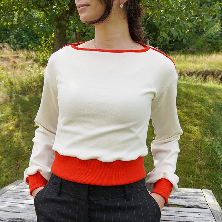 Střih na dámské tričko / mikinu TO THE CITY ve verzi crop se širokými rukávy