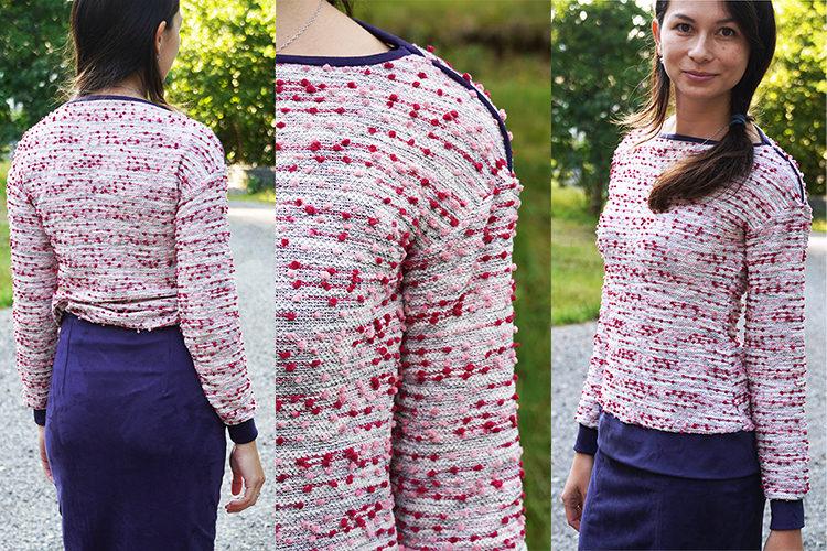 Střih na dámskou tričko - mikinu + detailní foto návod jak ušít mikinu zdarma