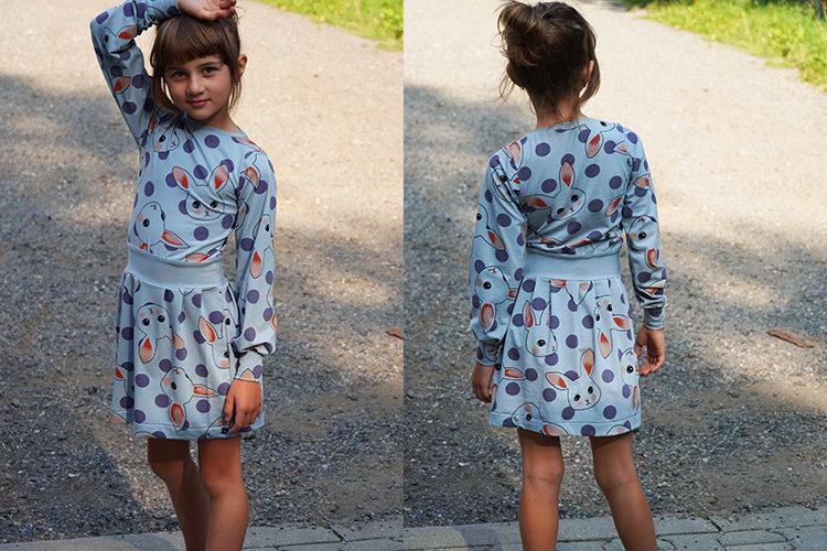 Střih na dětské šaty s dlouhým rukávem, kapsami a sukni se sklady+ návod jak ušít sukni krok za krokem