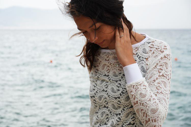 Střih - dámské tričko krajkové - se spadlými rukávy