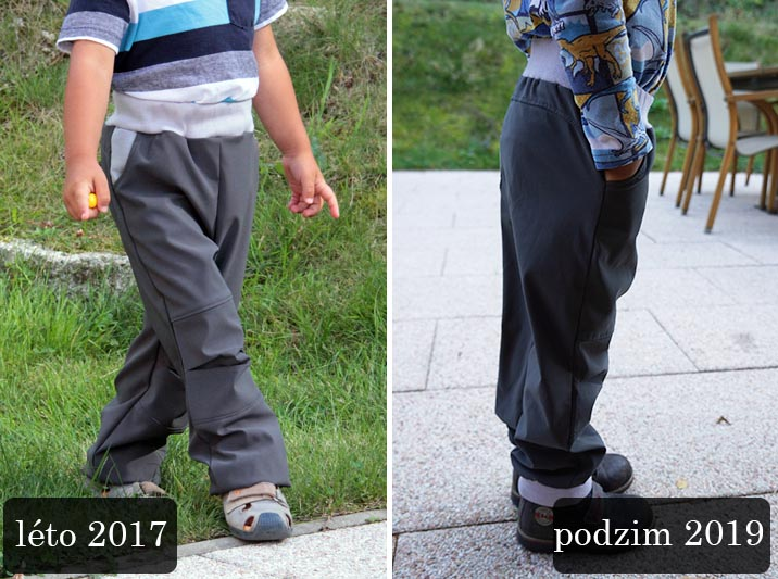 Střih - dětské softshellové kalhoty rostoucí