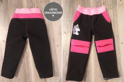 Střih - dětské softshellové kalhoty rostoucí - ušila Jarka Š.
