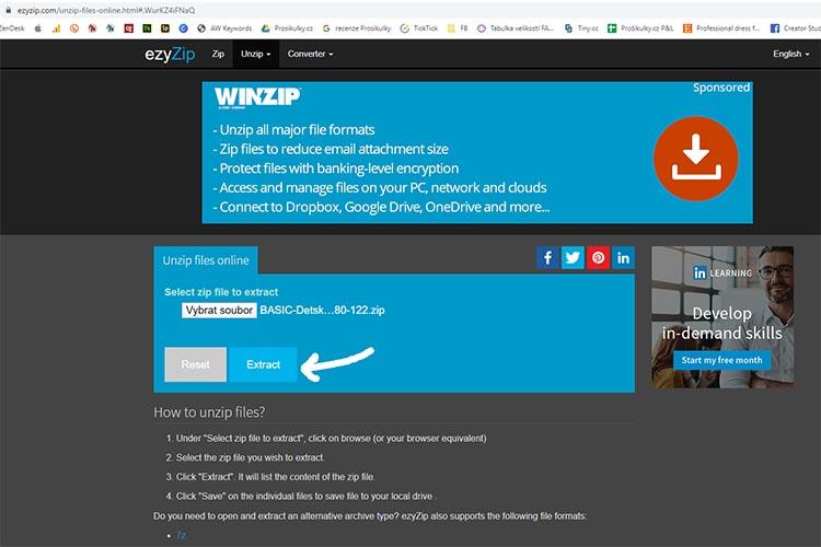 """Jak otevřít soubor """"zip"""" v online programu"""