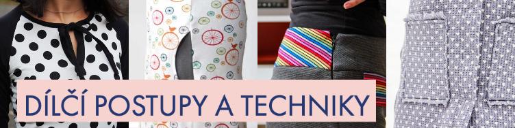 Návody na šití - dílčí postupy a techniky
