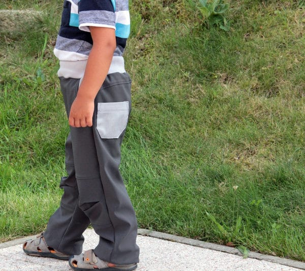 Střih na dětské rostoucí softshellové kalhoty