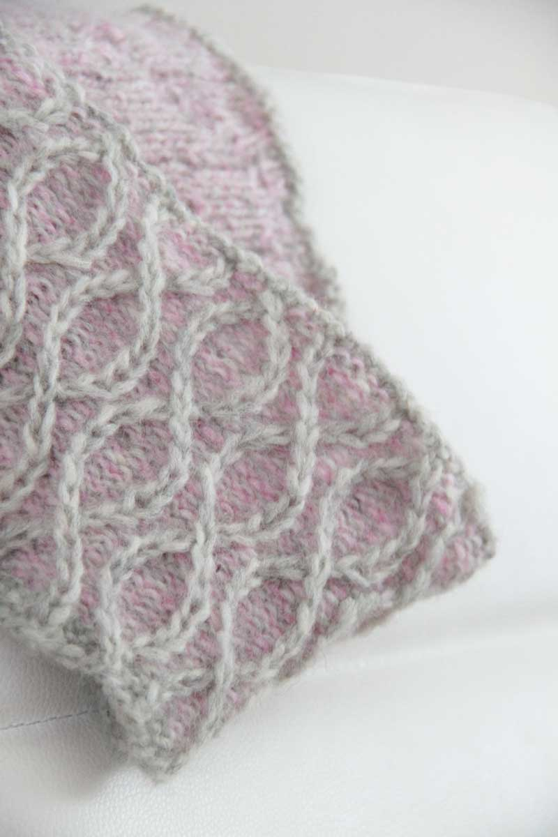 Návod na pletený vzor - křížená oka - pleteno v kruhových řadách