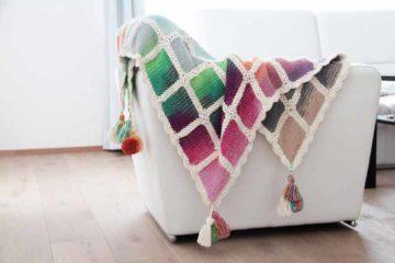 Projekt leden / únor 2017 - ručně pletená deka ve stylu patchwork