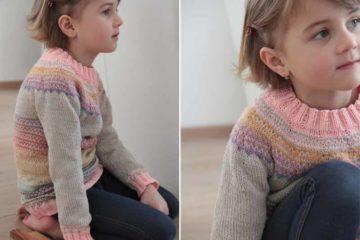 Návod zdarma na dětský svetr s kulatým sedlem pletený shora dolů