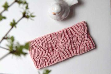 Dámská ručně pletená čelenka - chytový vzor (brioche stitch)