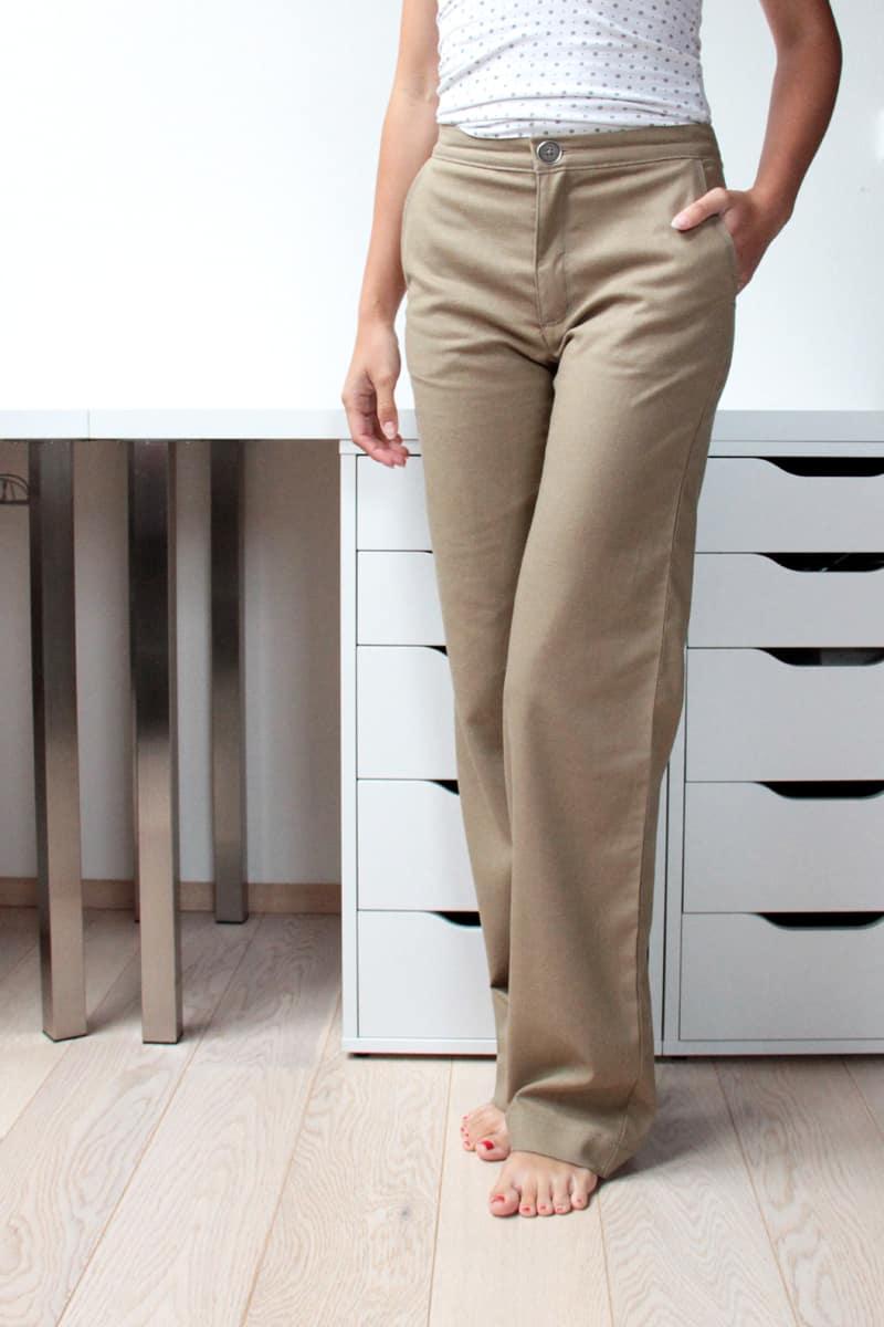 Střih na dámské rovné kalhoty