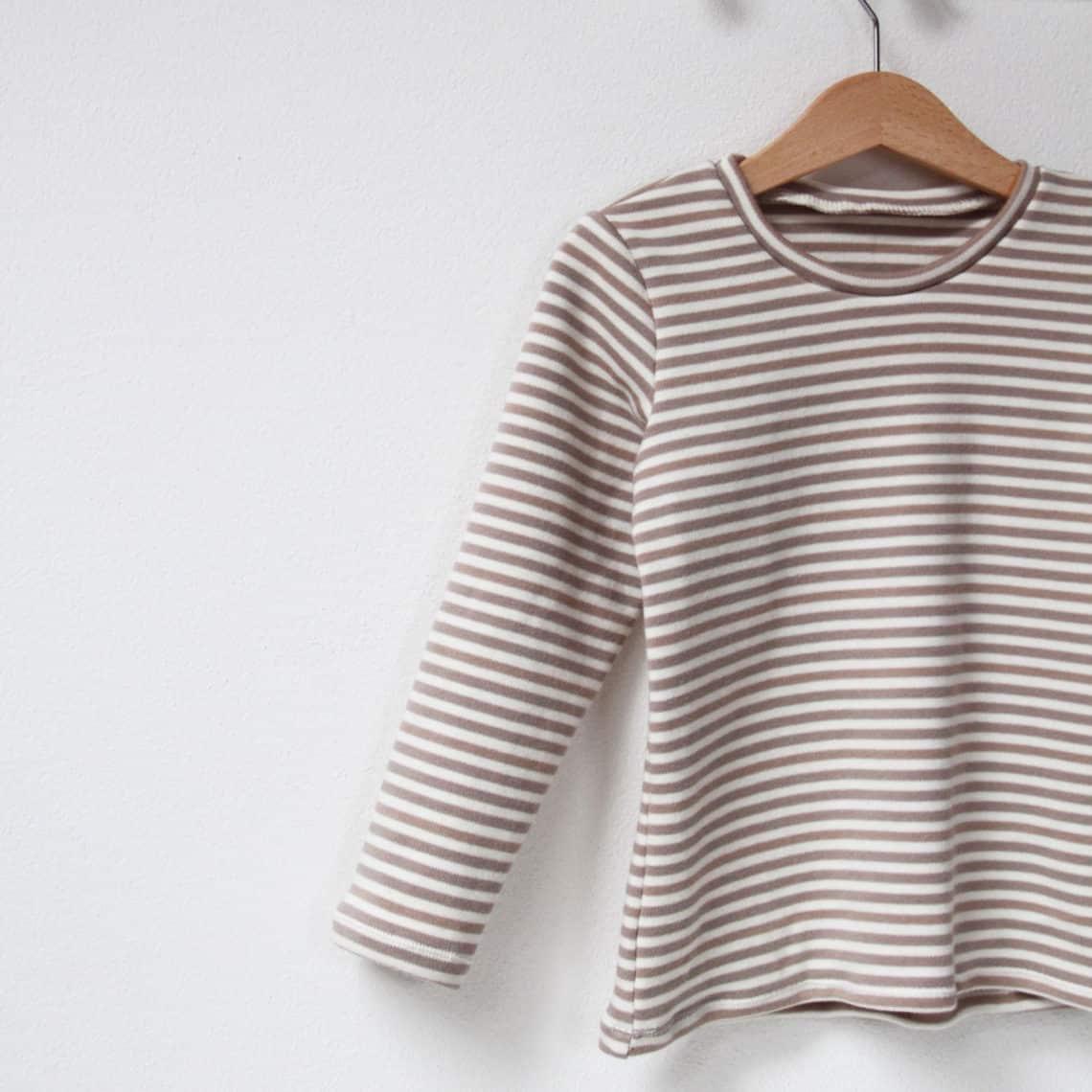 Jak ušít tričko: Dětské pruhované triko z českého BIO bavlněného oboulícního úpletu