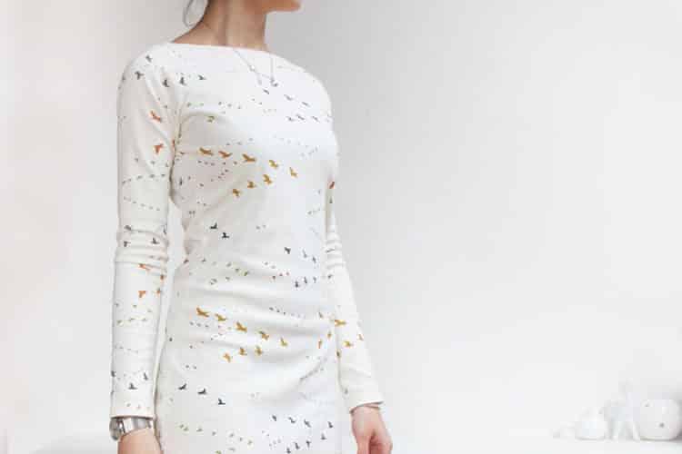 Dámské šaty s dlouhým rukávem. Z BIO bavlny Birch fabrics.