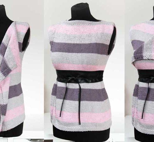 Návod na dámskou jednoduchou ručně pletenou variabilní vestu